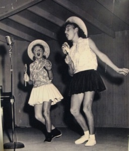 My sister, Diana, and I as singers