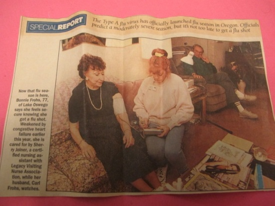 1990's Oregonian article featuring me and my patient
