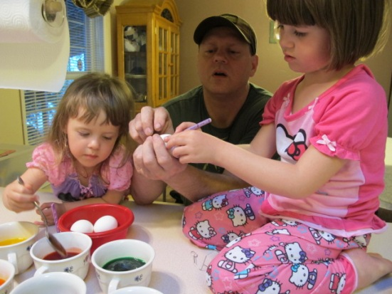 Coloring Easter eggs with Kylie and Kayla