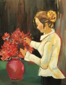 Julie A. Fast arranging flowers