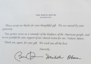 Thank you letter from the President and his wife Michelle Obama