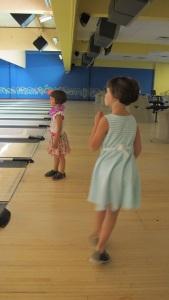 Kayla and Kylie bowling at Mt. Hood Bowl