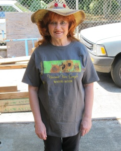 Me in Vincent Van Gogh T-Shirt for Flower Sale