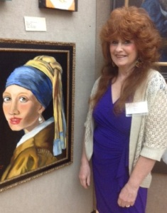 Me with the oil portrait I did of 'The Girl With a Pearl Earring from Veemer'