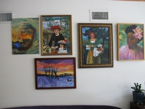 My paintings at Liz's Creative Cafe