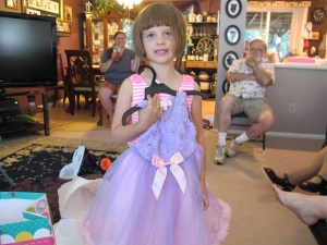 Kylie and the birthday dress we got her