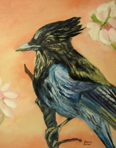 Oil painting I did of the Stellar's Jay