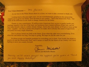 Inside card from the President and Michelle